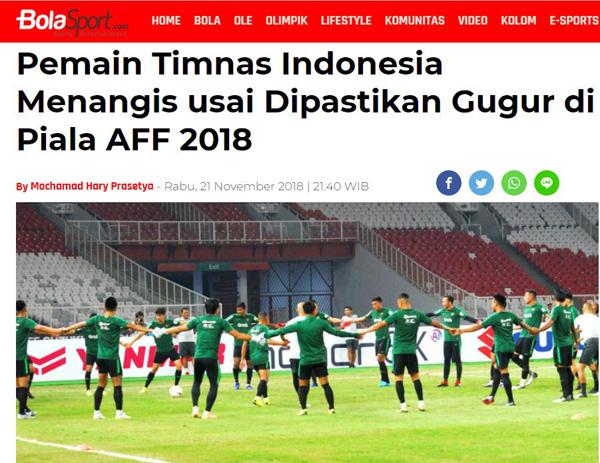 Trang thể thao Bola Sport của Indonesia đưa tin về đội tuyển.