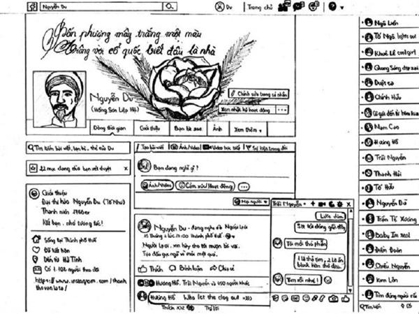 Trang cá nhân của danh nhân Nguyễn Du dưới sự sáng tạo của học sinh. Ảnh: Hoài Linh.