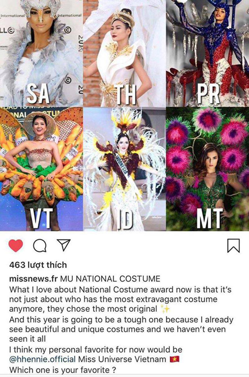 Một diễn đàn lựa chọn trang phục của HHen Niê đẹp nhất cuộc thi năm nay.