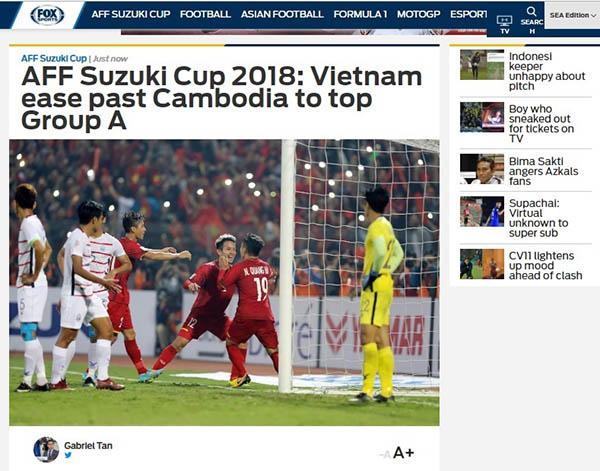 Fox Sports Asia đưa tin Việt Nam dẫn đầu bảng A.