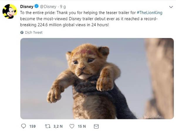 Bài đăng trên twitter của Disney về lượng xem đạt kỷ lục.
