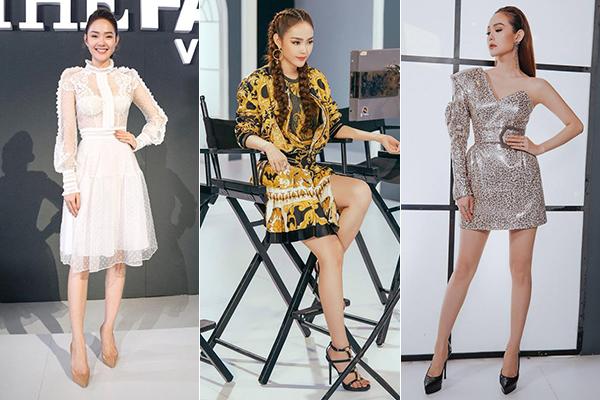 Minh Hằng hợp hơn cả với các kiểu giày cao gót mũi nhọn, có thiết kế đơn giản hoặc các kiểu sandals quai mảnh nhằm giúp thân dưới trông nhẹ nhàng, thanh thoát.