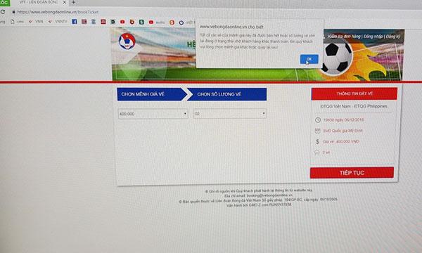 Hệ thống thông báo hết vé ngay sau thời điểm 10h vé mở bán chính thức chỉ vài phút.