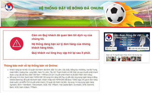 Thông báo trên hệ thống bán vé trực tuyến đượckhách hàng phản ánh.
