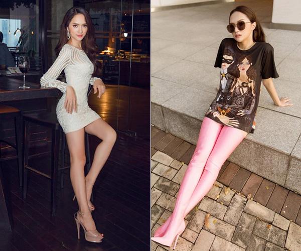 Đây không phải là lần đầu tiên Hương Giang diện boots cao ngang đùi cùng váy có độ dài phủ kín đôi chân. Nhiều ý kiến cho rằng, lối kết hợp này dễ khiến phần chân trông nặng nề, tạo cảm giác ngắn hơn.