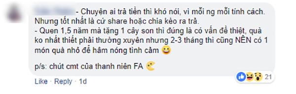 Những bình luận về quan điểm tình yêu trên fanpage chương trình.
