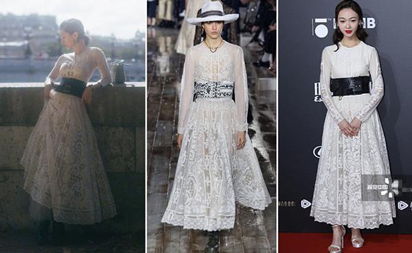 Trang Sohu nhận xét thần thái của Ngô Cẩn Ngôn không phù hợp với kiểu váy ren dài này, làm mất giá trị của set đồ siêu đắt đỏ.