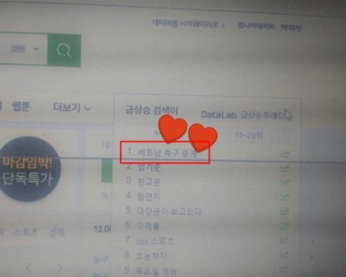 ...và đội tuyểnViệt Nam đều lọt top tìm kiếm tại Hàn.