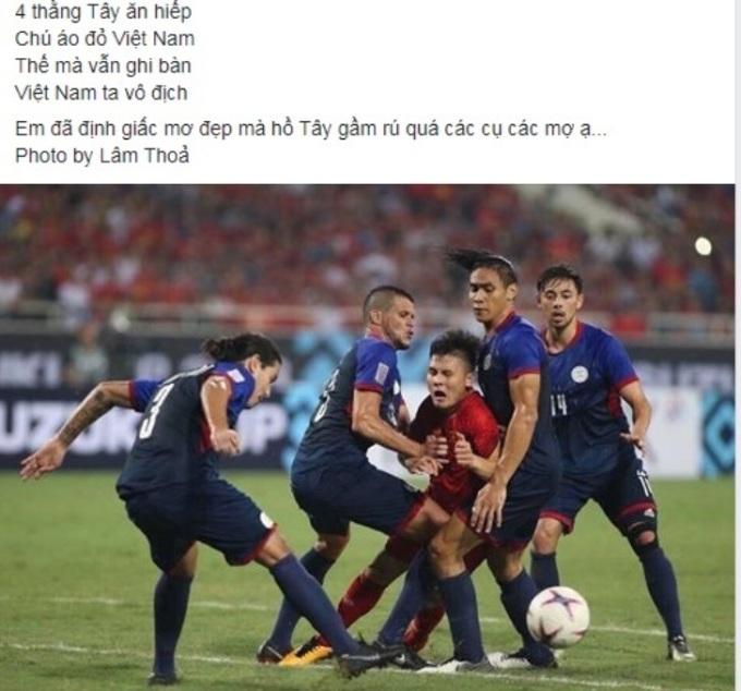 """<p> 19h30 ngày 12/6 trên SVĐ Mỹ Đình, hai đội Việt Nam - Philippines tranh suất dự chung kết AFF Cup 2018 tại trận bán kết lượt về. Quang Hải và các đồng đội thường xuyên phải đối mặt với những pha tiểu xảo và phạm lỗi thô bạo của đối thủ. Dù thế, """"Messi của Việt Nam"""" vẫn đầy quả cảm và nỗ lực chọc thủng lưới Philippines, gỡ thế bí cho trận bán kết lượt về tối 6/12. Một mình Quang Hải giữa vòng vây của các tuyển thủ cao lớn, lực lưỡng của Philippines - một trong những khoảnh khắc nổi bật nhất trận đấu được phóng viên VnExpress ghi lại cũng trở thành đề tài chế ảnh.</p>"""
