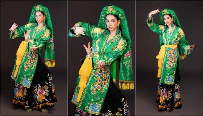 """<p> Ở phần thi phụ """"Dance Of The World"""", Tiểu Vy chọn múa chầu văn """"Cô đôi thượng ngàn"""". Cô cho biết bản thân muốn quảng bá nghệ thuật cổ truyền của Việt Nam ra thế giới.</p>"""
