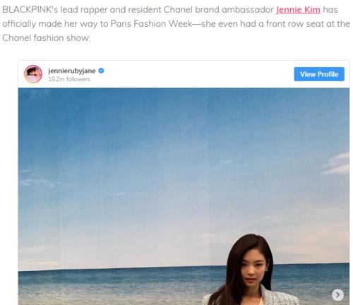 Jennie được nhiều trang báo gọi là Đại sứ thương hiệu Chanel