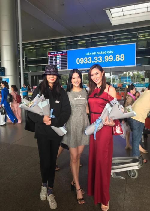 Phương Khánh ra sân bay đón Miss Earth 2016 và 2017 ngày 10/12.