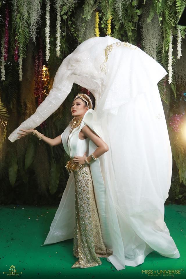 <p> Như các năm trước, Thái Lan tiếp tục mang đến quốc phục đầy sáng tạo, đó là bộ cánh mô phỏng hình tượng chú voi. Mặc dù vậy, kiểu dáng của trang phục này lại bị chê kém sang.</p>