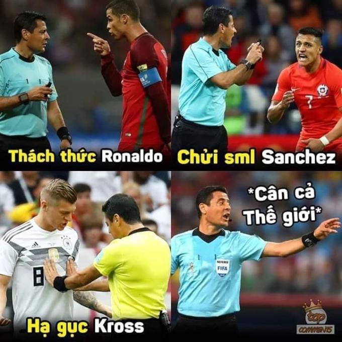 <p> Trọng tài từng cầm còi ở World Cup 2018 bị chế ảnh khắp mạng xã hội.</p>