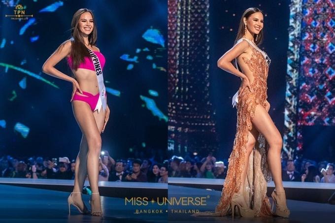 <p> Đại diện Philippines Catriona Gray đang là cái tên hàng đầu cho vương miện. Cô là người đẹp đầu tiên chiến thắng cả hai danh hiệu Hoa hậu Thế giới và Hoa hậu Hoàn vũ Philippines. Người đẹp 24 tuổi, cao 1,78 m và từng lọt vào top 5 Miss World 2016. Trong đêm bán kết, Catriona không làm người hâm mộ thất vọng với khả năng catwalk uyển chuyển cùng những màn hất tóc đầy thần thái.</p>