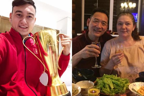 Bố mẹ chúc mừng Văn Lâm và đội tuyển Việt Nam.