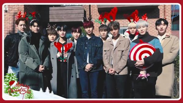 Các chàng trai Wanna One tự tay trang trí cây thôngmừng Giáng sinh.