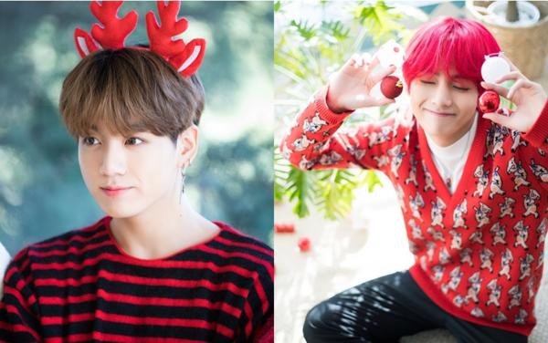 Jung Kook và V cùng diện áo đỏ rực rỡ.