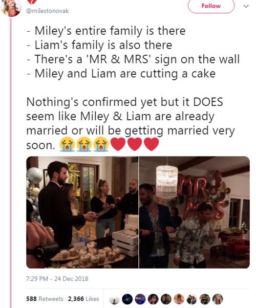 Tin đồn Miley và Liam kết hôn đang được share liên tục trên mạng xã hội.