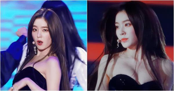 Trưởng nhóm của Red Velvet chính là sân vật gây bất ngờ nhất với chiếc áo lệch vai, khoe bờ vai trần, xương quai xanh và vòng một căng đầy. Công chúng bất ngờ về độ táo bạo của Irene trên sân khấu.