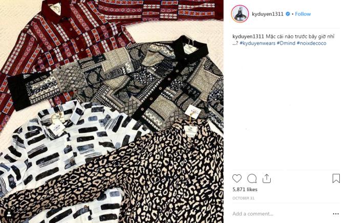 <p> Những mẫu áo Minh Triệu mặc từng được Kỳ Duyên mua về và khoe khéo trên trang cá nhân.</p>