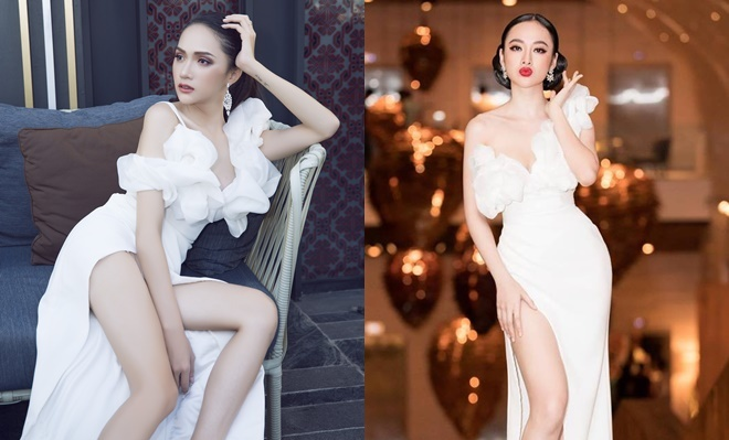 <p> Thời điểm mới đăng quang, Hương Giang cũng có pha đụng hàng bất phân thắng bại với Angela Phương Trinh.</p>
