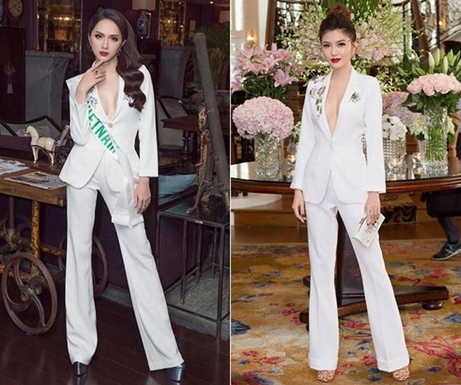 <p> Bộ suit trắng của NTK Lê Ngọc Lâm từng được cả Hương Giang và Ngọc Duyên mặc.</p>