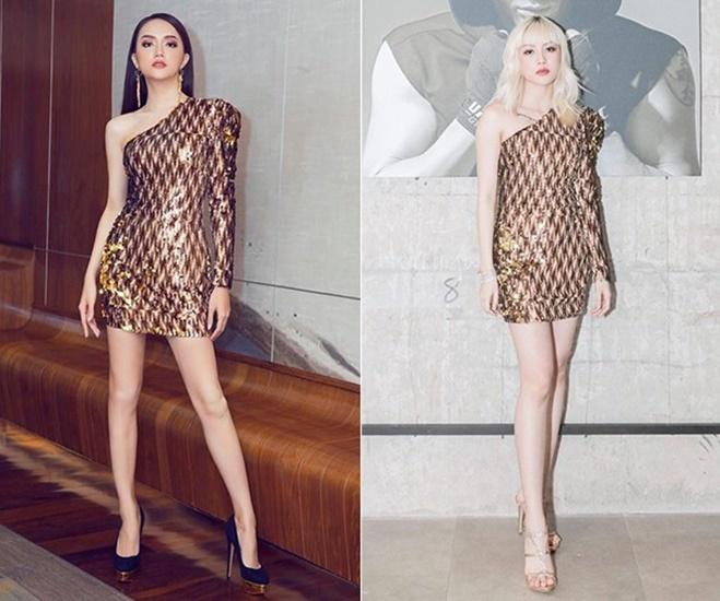 <p> Bộ váy lệch vai đính kim sa lấp lánh của NTK Kim Khanh được Hương Giang mặc trông eo ót hơn hẳn Thiều Bảo Trâm.</p>