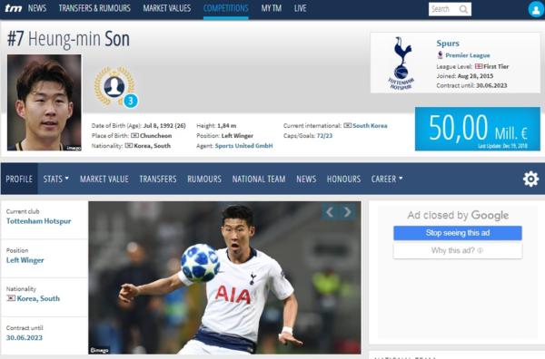Son Heung-min được định giá 50 triệu euro.