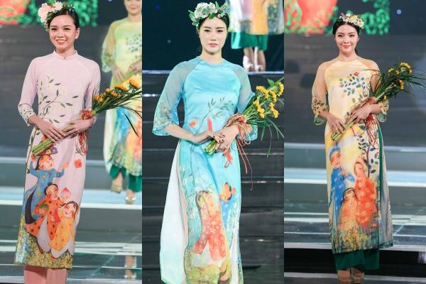BST Áo dài của Ngọc Hân mang tên Ý xuân. Những nét vẽ trên tà áo được thực hiện bởi họa sĩ Phạm Trinh.