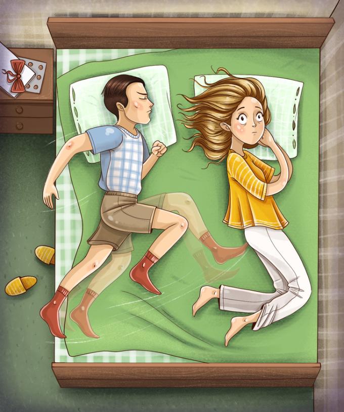 """<p> <strong>18. Người ấy có thể 'đạp' bạn khi ngủ</strong><br /> Tư thể ngủ này chứng tỏ cuộc sống hôn nhân của bạn giống như một hộp sô-cô-la bất ngờ và đầy thú vị.<br /> Một lưu ý nhỏ dành cho bạn, nếu bị người ấy """"đạp"""" thường xuyên, hãy cố gắng ôm chặt lấy đối phương và ngăn chặn chuyện đó.</p>"""