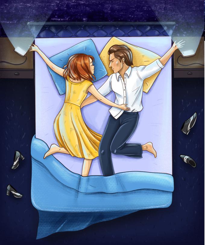 <p> <strong>7. Tư thế ngủ theo điệu nhảy 'La La Land'</strong><br /> Cuộc sống tình cảm của bạn đều là những bản nhạc jazz, chúng lãng mạn và đầy sự mơ mộng.</p>