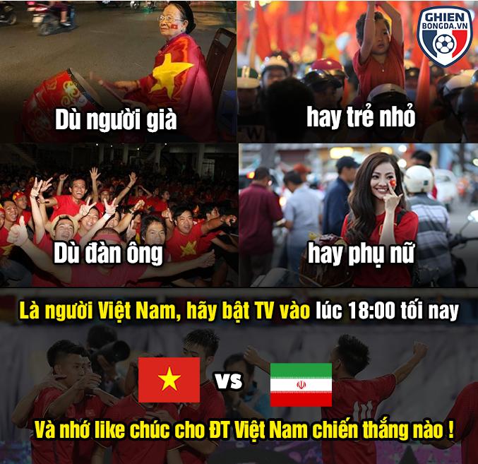 """<p> Dù thế, người hâm mộ Việt Nam vẫn luôn đồng hành, ủng hộ và kỳ vọng vào sự chiến đấu hết mình của dàn tuyển thủ Việt Nam. Khắp các diễn đàn bóng đá, những bức ảnh chế được chia sẻ để cổ vũ cho """"Rồng Vàng"""".</p>"""