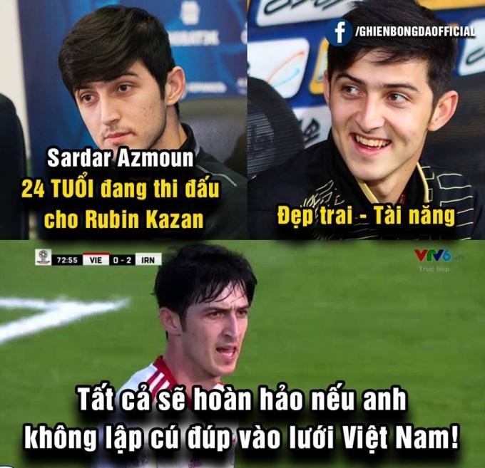 """<p> Chân dung cầu thủ lập cú đúp vào lưới Việt Nam cũng được fan truy lùng. Anh là Sardar Azmoun, người được mệnh danh<a href=""""https://ione.vnexpress.net/tin-tuc/nhip-song/messi-tuyen-iran-don-tim-fan-nu-3860294.html""""> """"Messi tuyển Iran"""".</a></p>"""