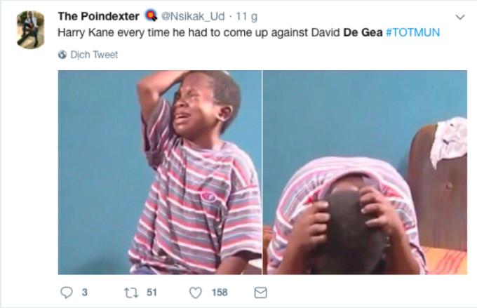 <p> Đây là tâm trạng của Harry Kane - ngôi sao Tottenham trước đẳng cấp của De Gea.</p>