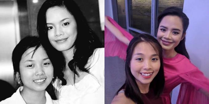 <p> Người mẫu Thu Hiền (phải) và em gái 10 năm trước và hiện tại. Nhan sắc của Quán quân <em>Cuộc đua kỳ thú 2013</em> không có nhiều thay đổi.</p>