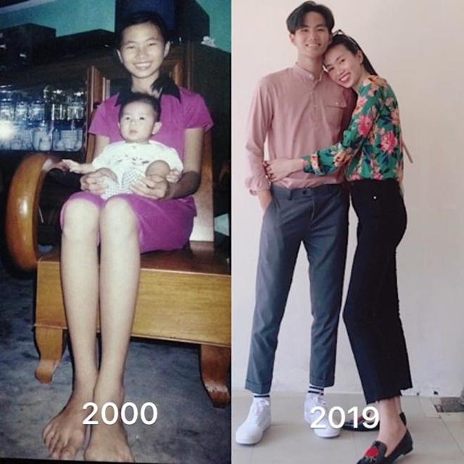 <p> 19 năm trước, Thanh Thủy bế bồng em trai. Ở hiện tại, cậu em trai bé bỏng ngày nào đã cao hơn chị.</p>