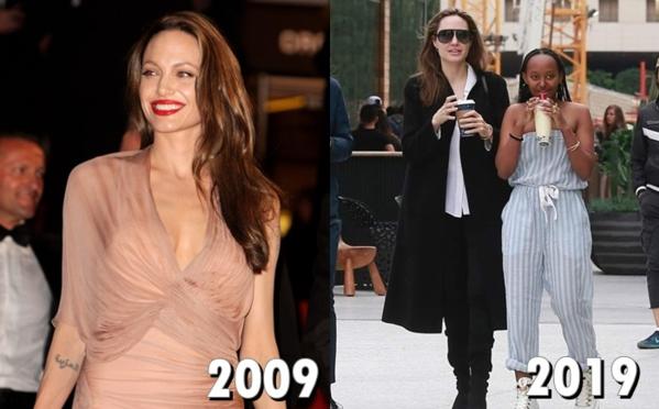 10 năm trước, Angelina Jolie là hình mẫu của nhiều khán giả, vừa xinh đẹp giỏi giangvừa có chuyện tìnhtrong mơ với tài tử Brad Pitt. Tuy nhiên sau nhiều biến cố, hình ảnh hoàn hảo ngày xưa đã mai một ít nhiều. Nữ diễn viên naybị mất điểm trong mắt fanvì cuộc chiến tranh giành con đầy mệt mỏi vớichồng cũ.