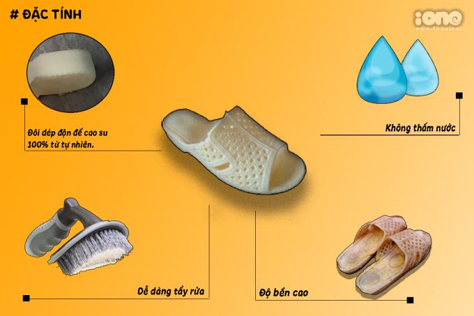 <p> Được sản xuất từ cao su tự nhiên, không thấm nước, dễ dàng tẩy rửa, có độ bền cao, đôi dép Việt có thể chiều lòng được những vị khách khó tính nhất.</p>
