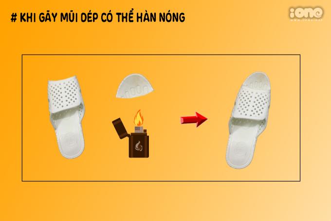"""<p> Đối với nhiều giày dép khi bị gãy, đứt đều phải vứt đi, nhưng dép tổ ong lại rất đặc biệt. Bạn chỉ cần lấy thanh sắt nóng """"dí"""" vào vết đứt, sau đó dính 2 bộ phận của dép lại với nhau, bạn sẽ lại có thể tiếp tục xài nó.</p>"""