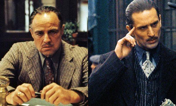 Marlon Brando trong vai Vito của phần phim đầu tiên (ảnh trái) và Al Pacino vai Vito thời trẻ trong phần 2.