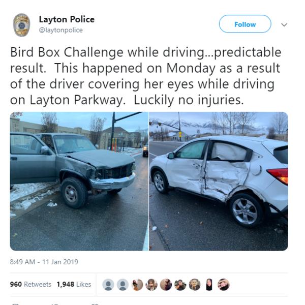 Twitter của cảnh sát đại lộ Layton cập nhật về vụ tai nạn do thực hiện Bird Box Challenge.