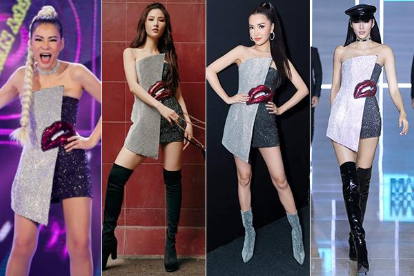 4 người đẹp cùng mặc một mẫu đầm, dù mỗi người có vóc dáng, phong cách, kiểu làm đẹp khác nhau nhưng đều bất phân thắng bại.