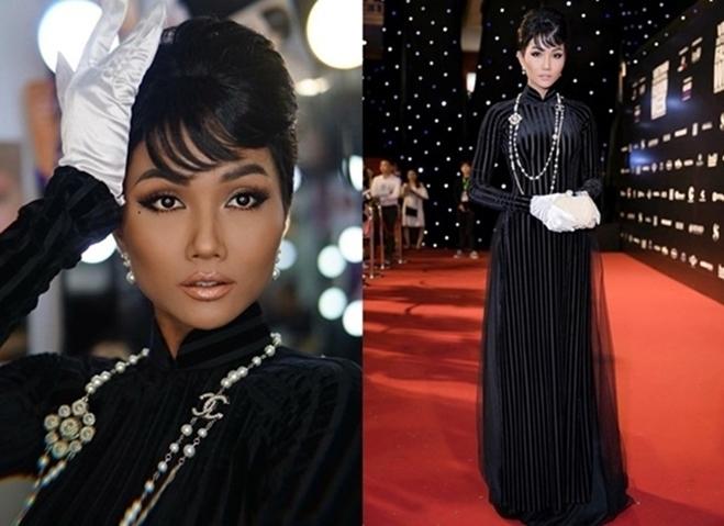 <p> H'Hen Niê trông như 'mệnh phụ phu nhân' khi để kiểu tóc lấy cảm hứng từ biểu tượng thời trang Audrey Hepburn.</p>