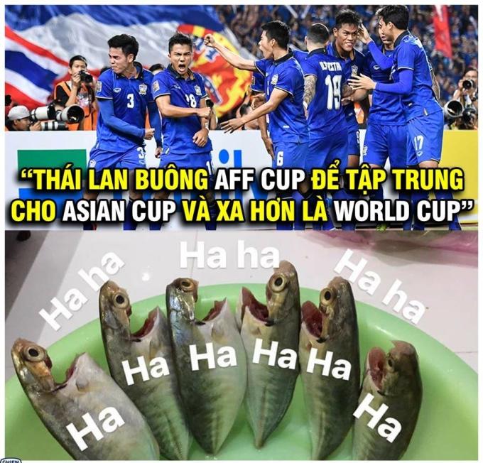 <p> Fan hài hước còn cho rằng Thái Lan đã cố tình né Việt Nam tại AFF Cup để tập trung cho Asian Cup và giờ muốn giấu bài để chờ World Cup mới xứng tầm.</p>