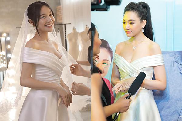 Cả Nhã Phương và Hari Won đều có vòng một đầy đặn nên bất phân thắng bại khi diện cùng một mẫu váy trễ vai gợi cảm. Sự khác biệt đến từ cách làm tóc, chọn trang sức của cả hai. Trong khi Nhã Phương đơn giản thì Hari Won cầu kỳ hơn.