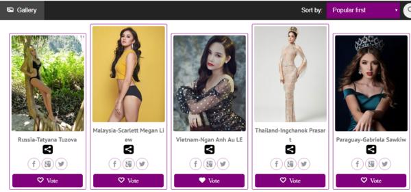 Từ trái qua, 5 thí sinh được bình chọn cao nhất tính đến hiện tại: Nga, Malaysia, Việt Nam, Thái Lan và Paraguay.
