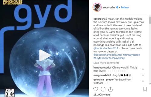 Coco Rocha chia sẻ clip trình diễn của mẫu nhí Việt.