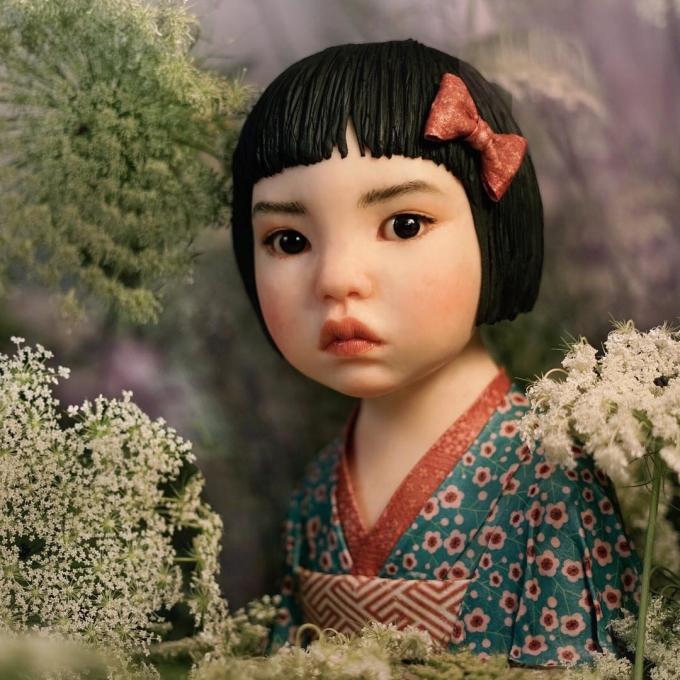 <p> Chiếc bánh kem làm theo hình ảnh một bé gái Nhật Bản, hoàn hảo đến từng đường nét.</p>
