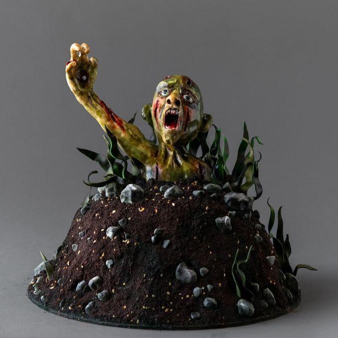 <p> Liệu những đứa trẻ có khóc thét khi nhìn thấy chiếc bánh kem zombie?</p>